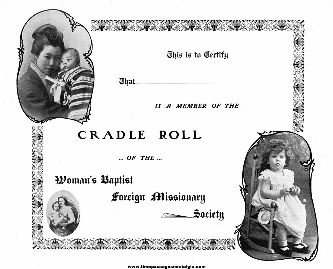 Old Unused Missionary Cradle Roll Certificate & (6) Small Brochures