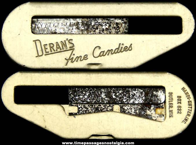 Old Deran's Fine Candies Advertising Premium Box Cutter Razor Knife