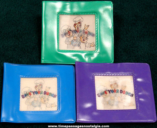 (3) Old General Mills Cinnamon Toast Crunch Cereal Advertising Toy Prize Vinyl Wallets