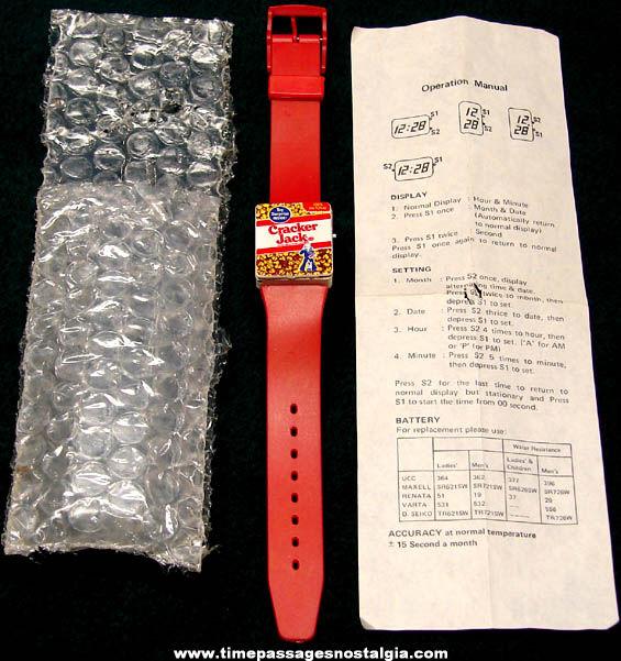 Old Unused Cracker Jack Pop Corn Confection Canadian Mail Away Premium Wrist Watch