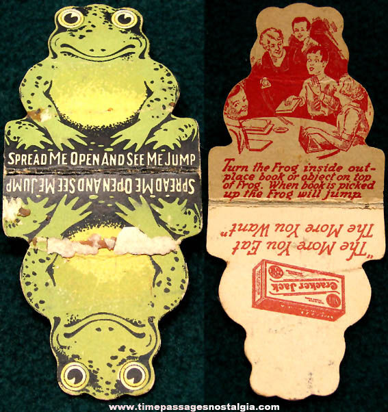 Early Cracker Jack Confection Advertising Prize Jumping Paper Frog