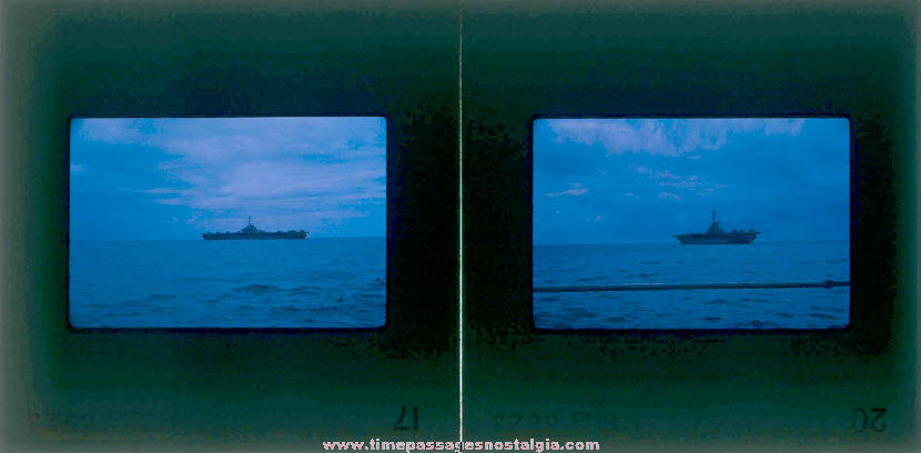 (2) February 1966 U.S. Navy Ship U.S.S. Valley Forge (LPH-8) Aircraft Carrier Photograph Slides