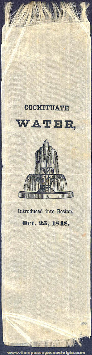 1848 Boston Massachusetts Cochituate Water Celebration Advertising Souvenir Ribbon