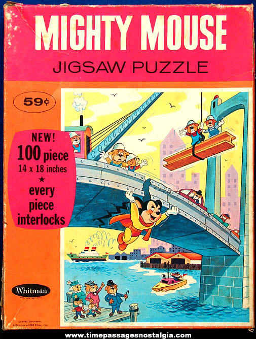 Boxed ©1967 Mighty Mouse Cartoon Character Jigsaw Puzzle