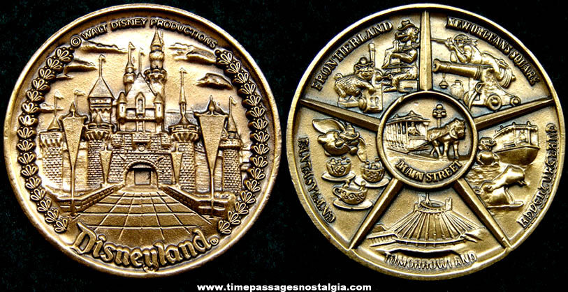 Old Disneyland Amusement Park Advertising Souvenir Bronze Medal Coin