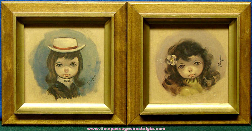 (2) Small Framed 1966 Ozz Franca Sad Big Eye Young Girl Prints