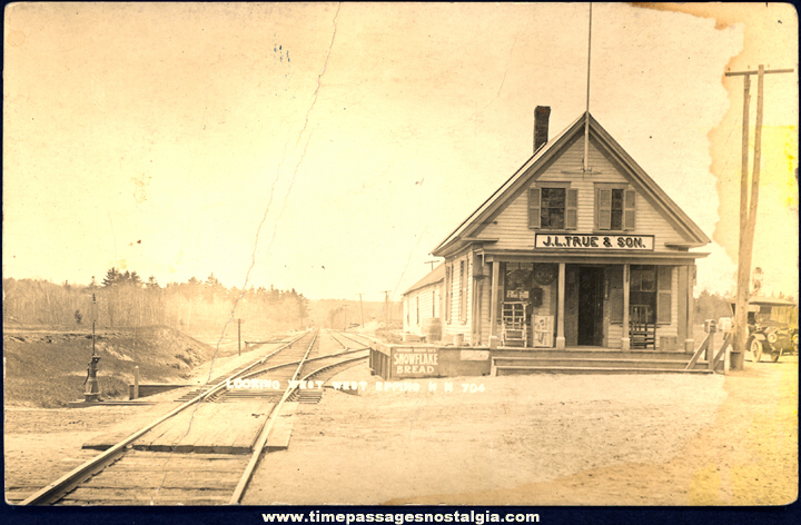 Early Unused West Epping New Hampshire Train Depot & General Store Real Photo Post Card
