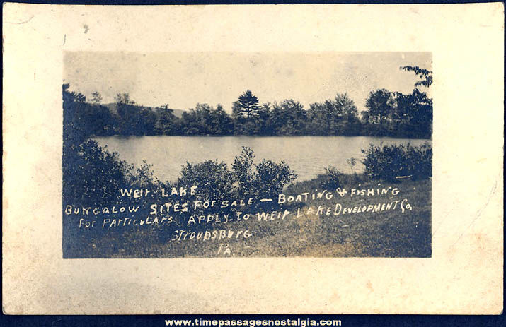 Early Unused Weir Lake Stroudsburg Pennsylvania Advertising Real Photo Post Card