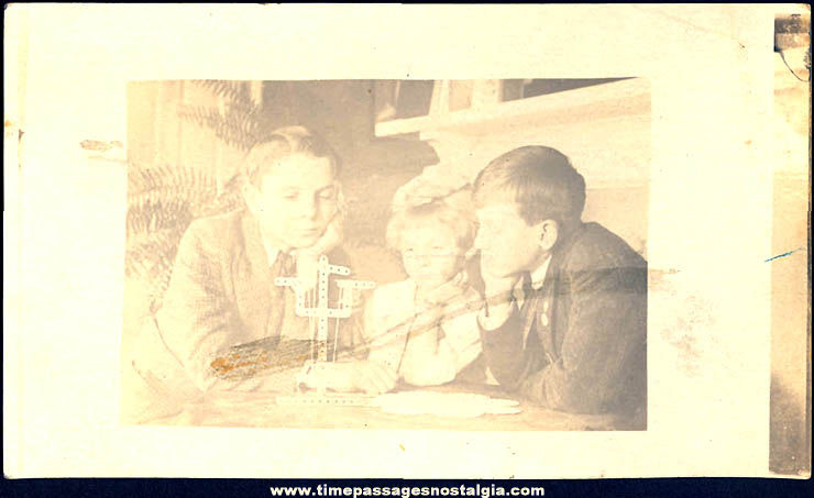 Old Unused Children With Toy Erector Set Real Photo Post Card