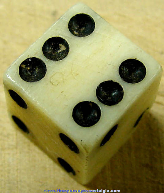 Small 18th Century Miniature Bone Game Die With Tax Mark