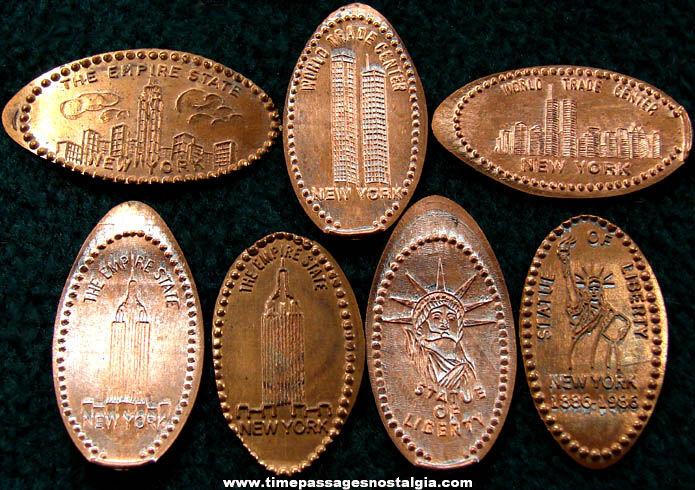 (7) New York City Advertising & Souvenir Elongated Cents