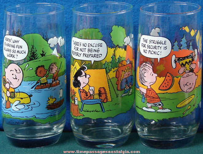 (3) Different 1983 McDonald's Restaurant Camp Snoopy Peanuts Character Drink Glasses