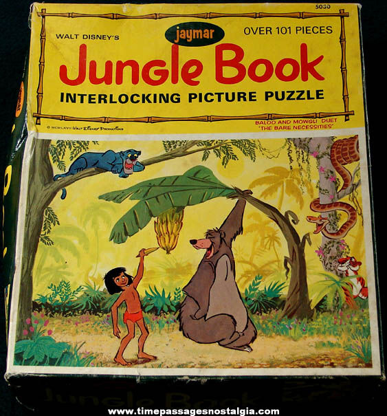 Colorful Boxed ©1968 Walt Disney Jungle Book Character Jaymar Jigsaw Puzzle