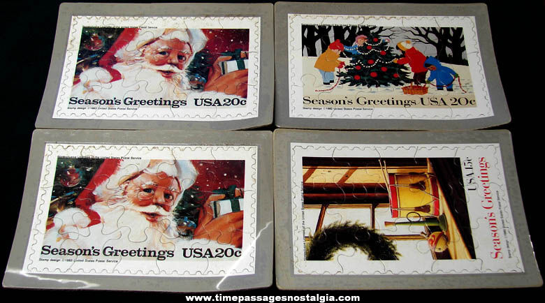 (4) Unused 1980s United States Postal Service Christmas Holiday Postage Stamp Post Card Jigsaw Puzzles