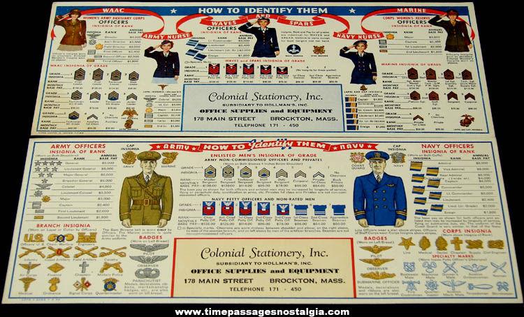 (2) Old Unused United States Military Insignia Advertising Premium Ink Pen Blotters