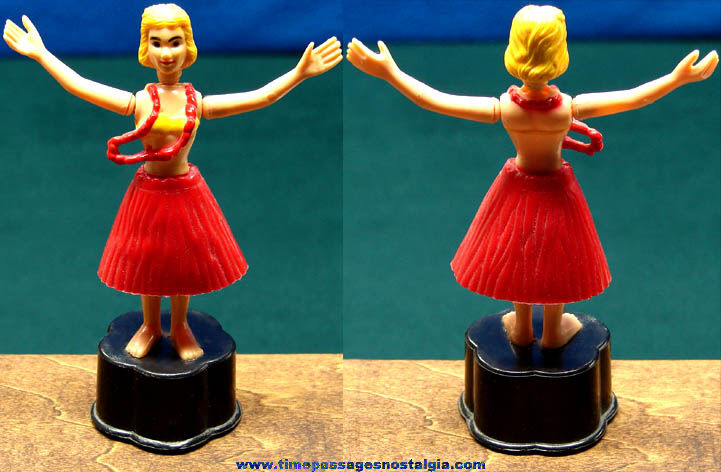 Colorful Old Novelty Toy Hula Dancer Woman Push Puppet
