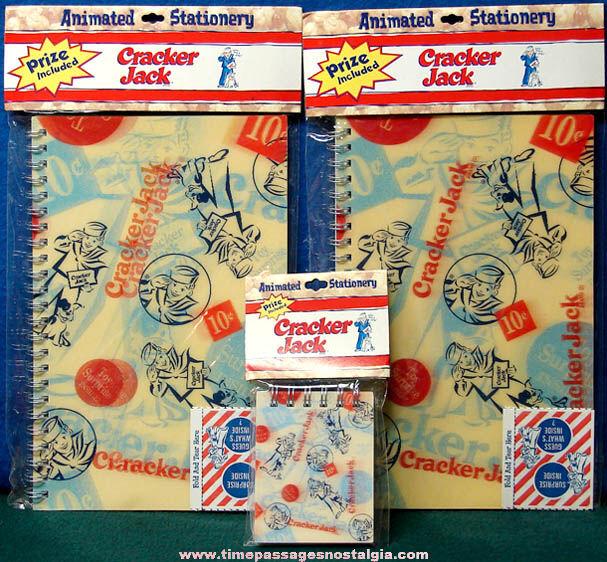 (3) Unused ©2003 Cracker Jack Pop Corn Confection Advertising Flicker Note Books with Toy Prizes