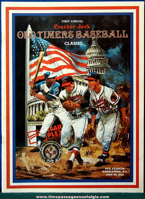 1982 First Annual Cracker Jack Old Timers Baseball Classic Program Book