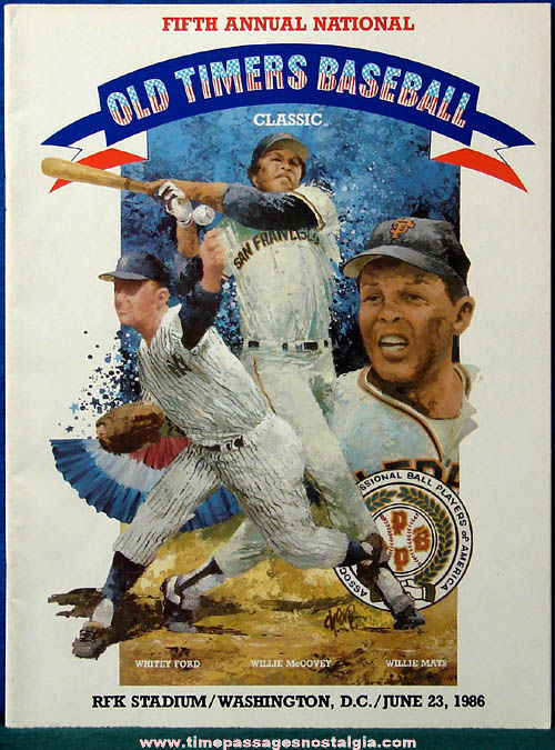 1986 Fifth Annual National Old Timers Baseball Classic Program Book