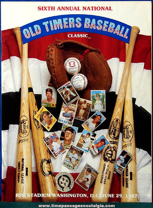 1987 Sixth Annual National Old Timers Baseball Classic Program Book