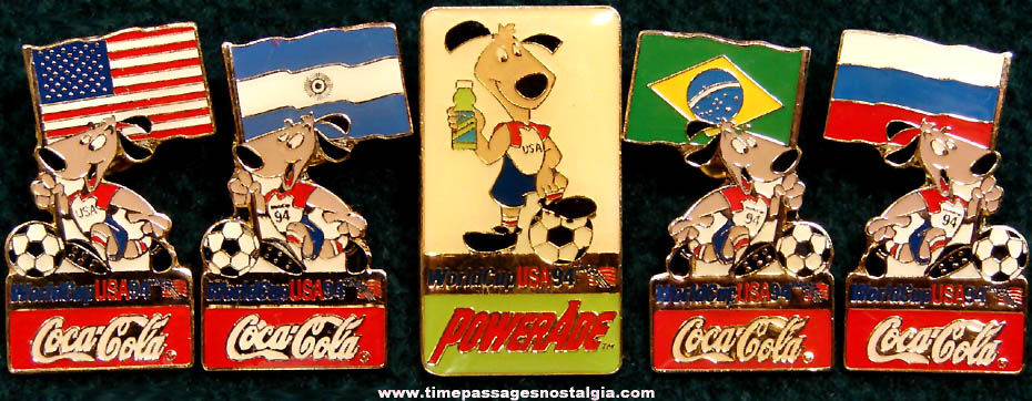 (5) 1994 World Cup Soccer Games Enameled Coca Cola Advertising Pins