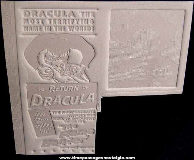 (2) Unused ©1958 Return of Dracula & The Flame Barrier Movie Ad Mat Molds