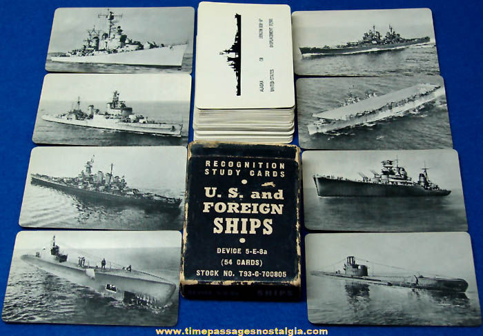 Old Boxed United States Navy U.S & Foreign Ship Recognition Study Card Deck