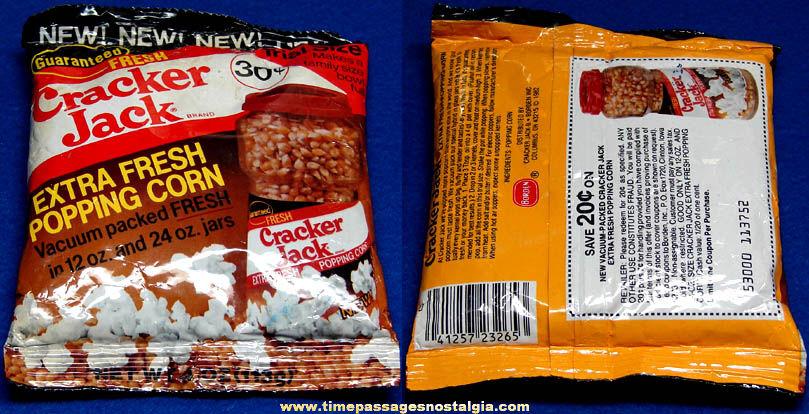 Old Unopened Special Trial Size Bag of Cracker Jack Pop Corn