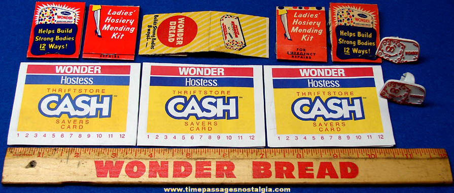 (11) Colorful Old Wonder Bread Advertising Promotional & Premium Items