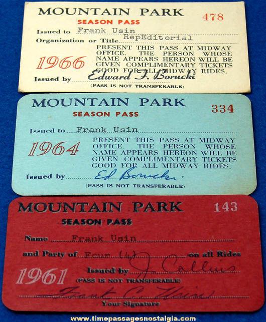(3) 1960s Mountain Park Amusement Park Season Pass Tickets