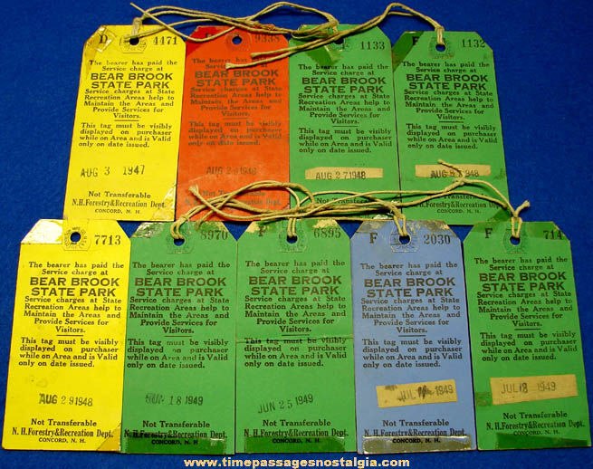 (9) Colorful 1940s Bear Brook State Park New Hampshire Advertising Pass Tickets