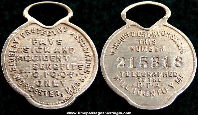 Old Independent Order of Odd Fellows Fraternal Identification Tag Fob