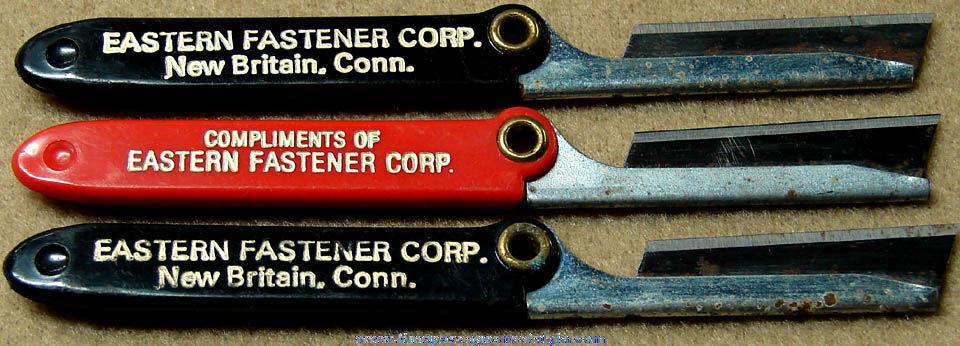 (3) Old Eastern Fastener Corporation Advertising Premium Box Cutter Razor Knives