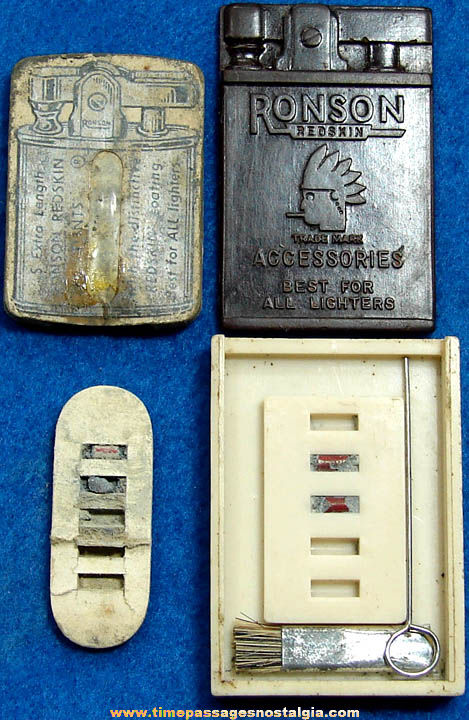 (2) Different Small Old Ronson Redskin Flint Advertising Cigarette Lighter Kits