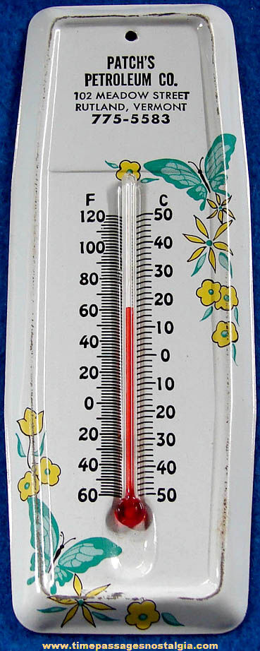 Old Rutland Vermont Fuel Company Advertising Premium Tin Wall Thermometer