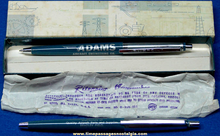 (2) Old Unused Adams Aircraft Engineering Company Advertising Ritepoint Ink Pens with Packaging