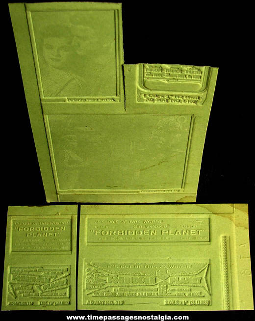(6) Different Unused 1956 Forbidden Planet Science Fiction Movie Ad Mat Molds