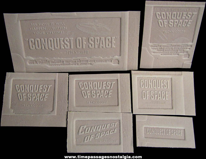 (7) Unused 1955 Conquest of Space Science Fiction Movie Ad Mat Molds