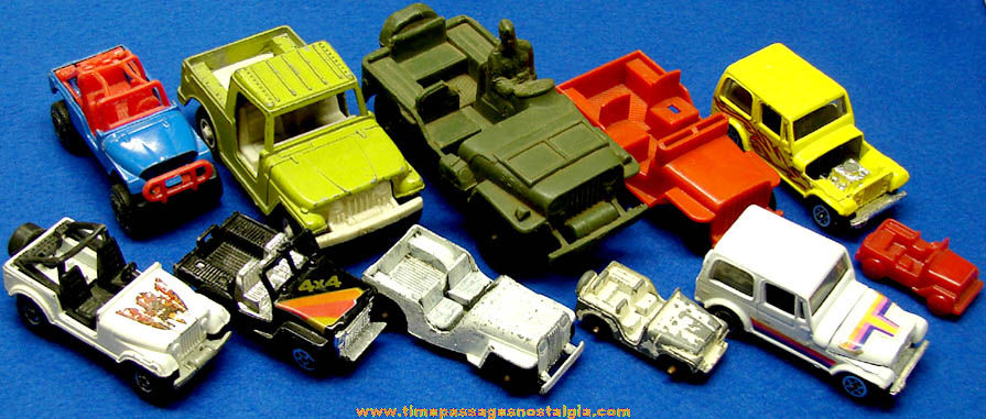 11 Different Small Old Metal And Plastic Toy Jeep Cars Tpnc