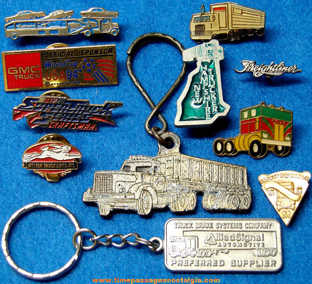 (11) Different Small Metal Truck & Trucking Advertising Pins and Key Chains