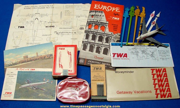 (16) Old Trans World Airlines TWA Advertising & Souvenir Items
