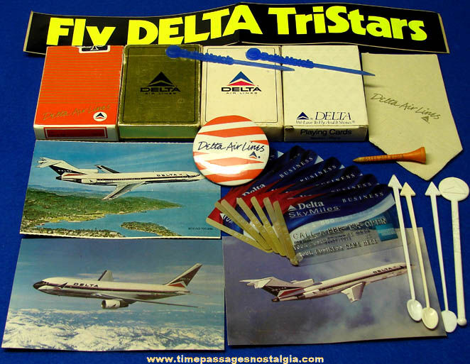 (22) Old Delta Airlines Advertising & Souvenir Items
