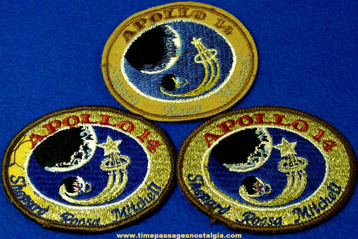 (3) Unused 1971 Apollo 14 Space Mission Embroidered Cloth Insignia Patches