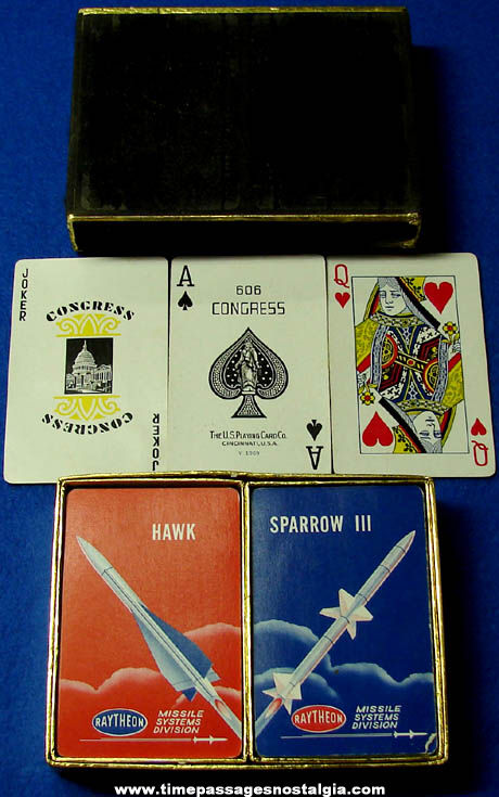 (2) Old Boxed Raytheon Missile Systems Division Advertising Playing Card Decks