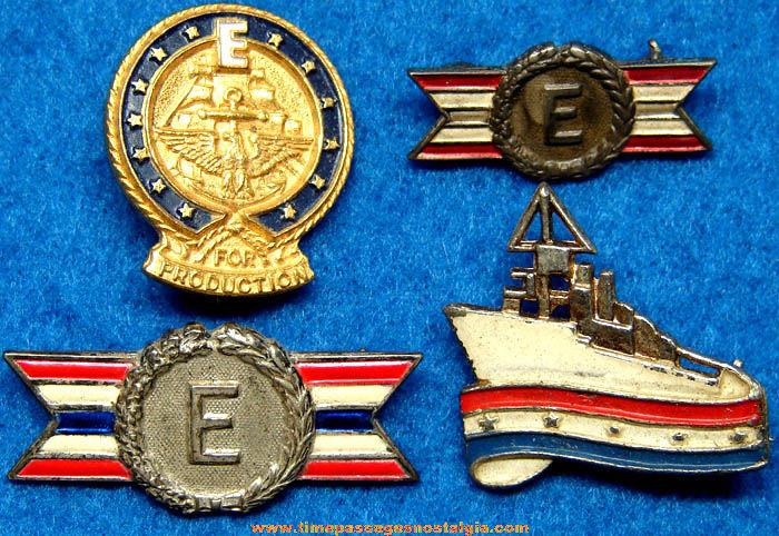 (4) World War II Army & Navy War Production Award Pins