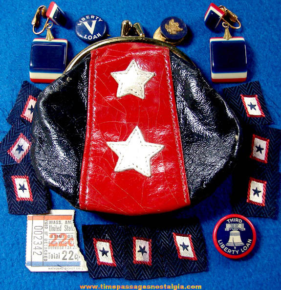 (16) Small World War II United States Homefront Patriotic Items