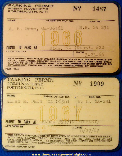 (2) 1960s United States Navy Portsmouth Naval Ship Yard Laminated Parking Permits