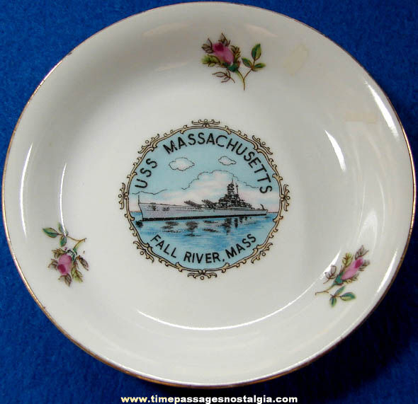 Old U.S.S. Massachusetts BB-59 Advertising Souvenir Tea Cup Saucer or Bowl