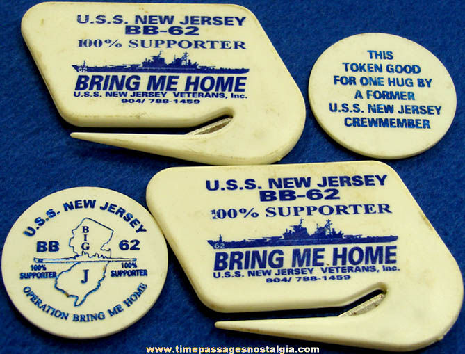 (4) United States Navy U.S.S. New Jersey BB-62 Battleship Advertising Souvenir Items