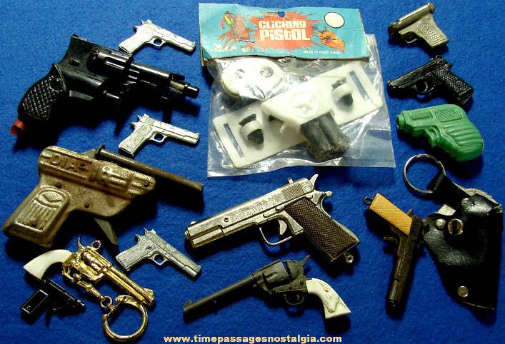 (14) Old Small & Miniature Metal & Plastic Toy Pistol Hand Guns